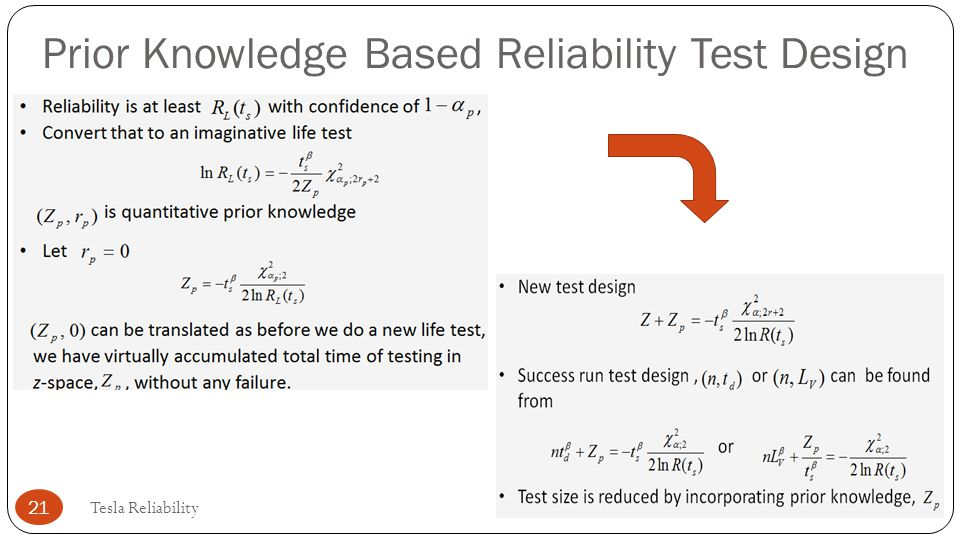 Prior Knowledge Based Reliability Test Design
