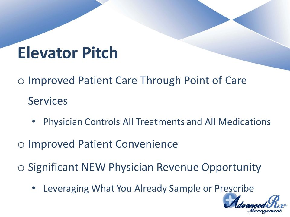 Elevator Pitch Improved Patient Care Through Point of Care Services