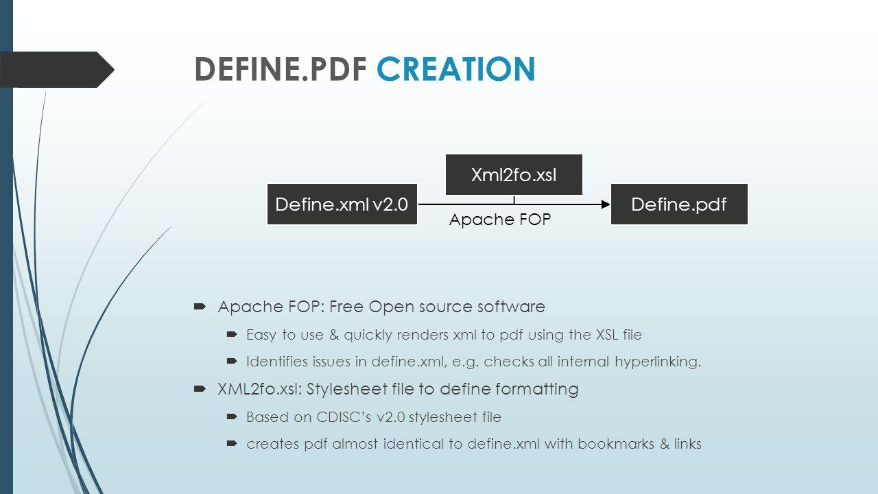 Define.pdf Creation Define.xml v2.0 Define.pdf Xml2fo.xsl Apache FOP