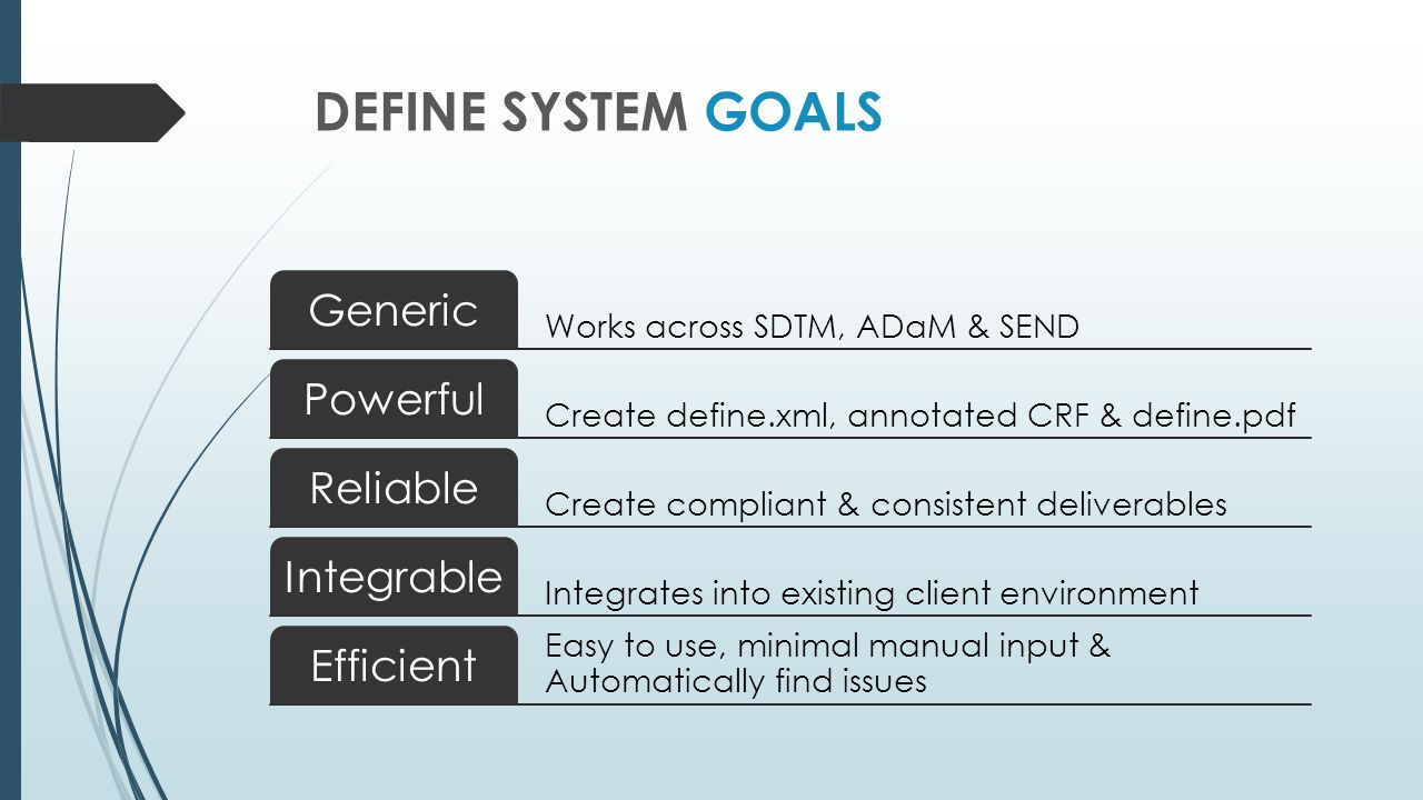 Define System Goals Generic Powerful Reliable Integrable Efficient