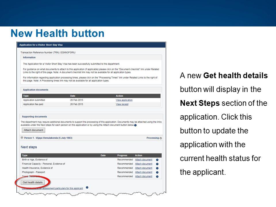 New Health button