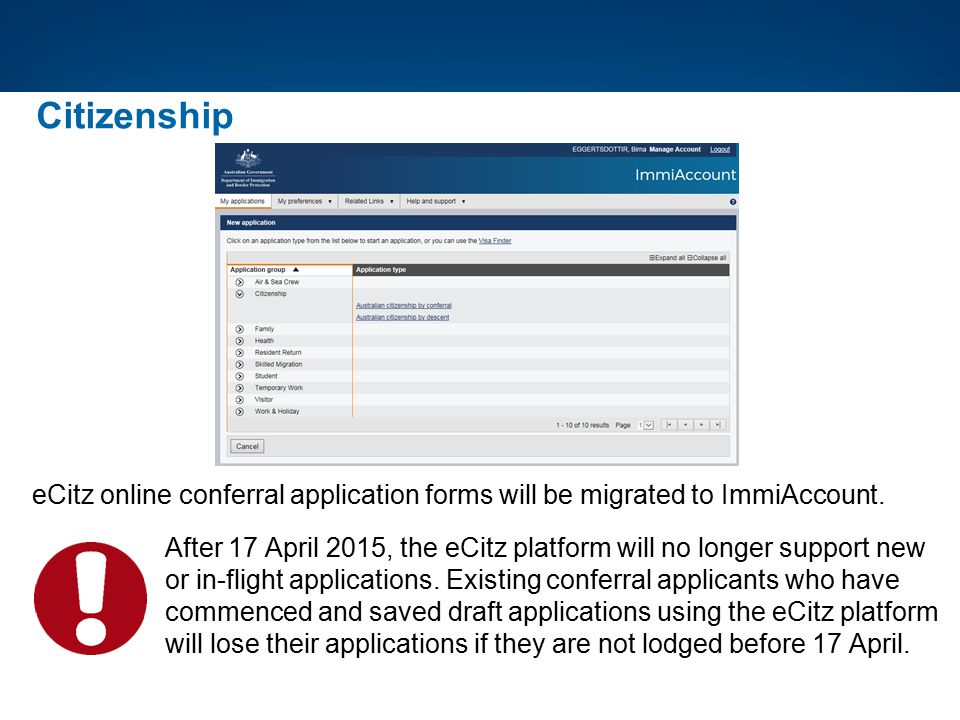 Citizenship eCitz online conferral application forms will be migrated to ImmiAccount.