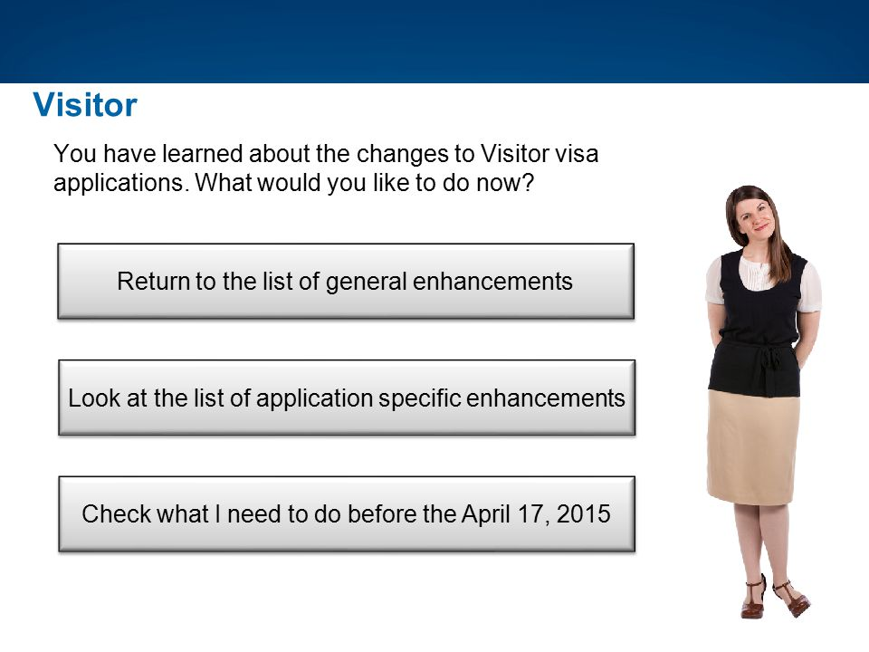 Visitor You have learned about the changes to Visitor visa applications. What would you like to do now