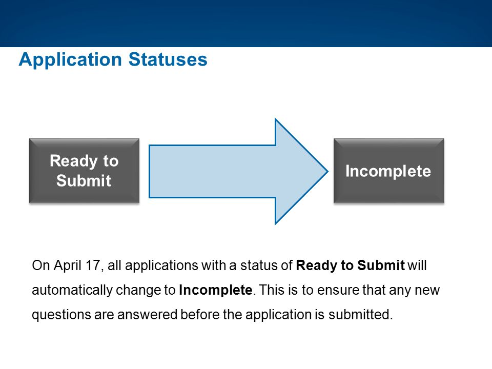 Application Statuses Ready to Submit Incomplete