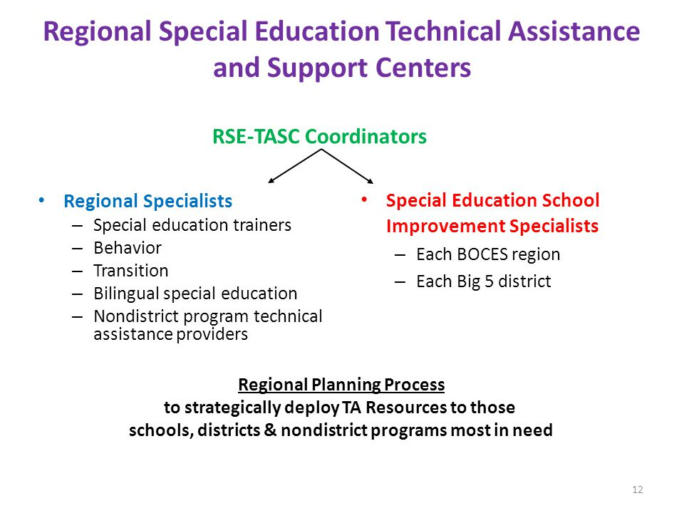 Regional Special Education Technical Assistance and Support Centers
