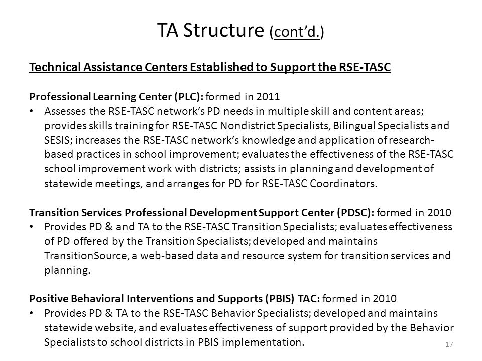 TA Structure (cont'd.) Technical Assistance Centers Established to Support the RSE-TASC. Professional Learning Center (PLC): formed in 2011.