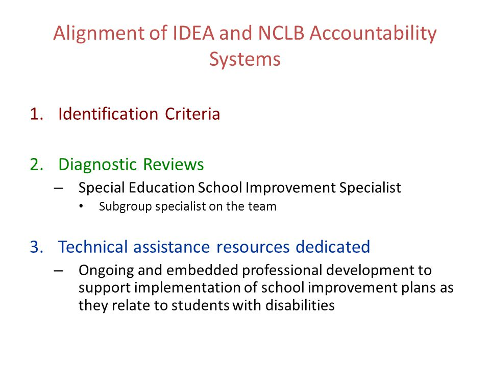 Alignment of IDEA and NCLB Accountability Systems