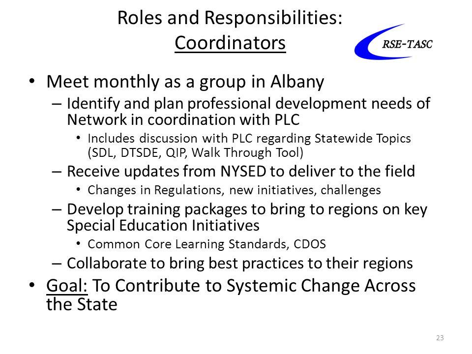 Roles and Responsibilities: Coordinators