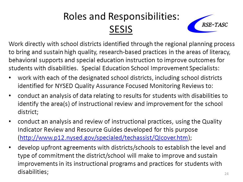 Roles and Responsibilities: SESIS