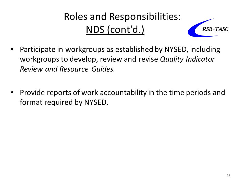 Roles and Responsibilities: NDS (cont'd.)