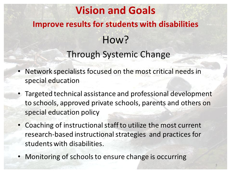 Improve results for students with disabilities