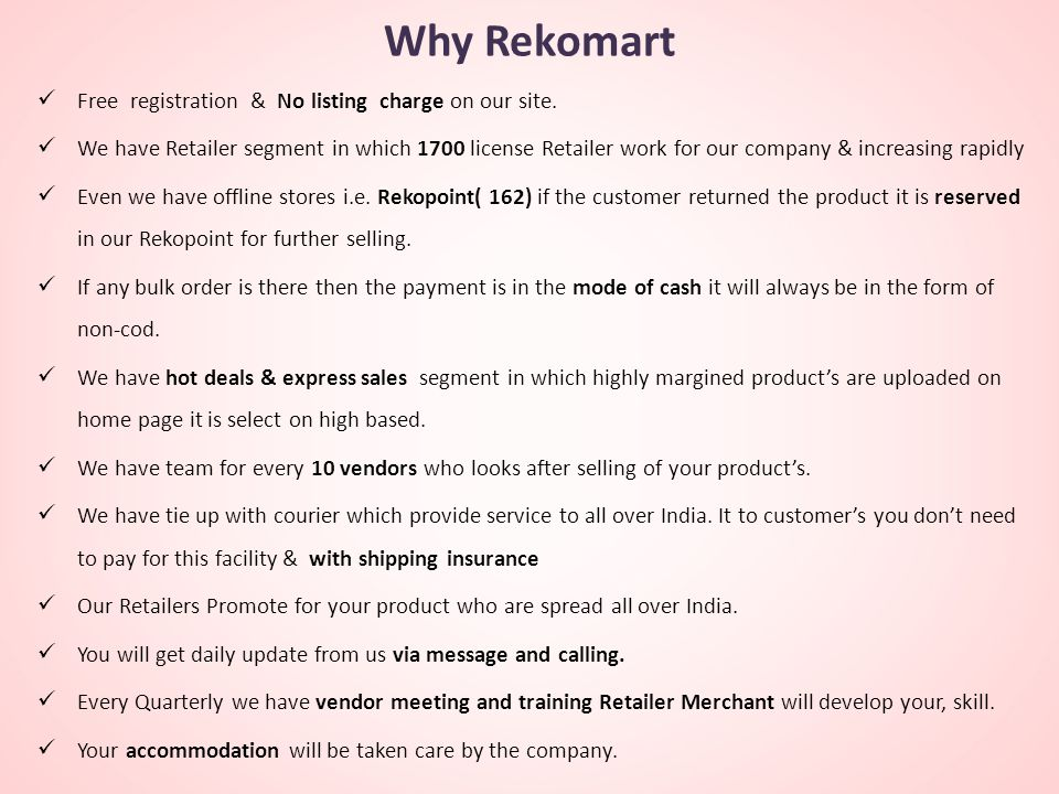 Why Rekomart Free registration & No listing charge on our site.