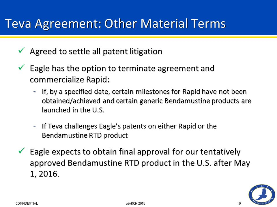 Teva Agreement: Other Material Terms