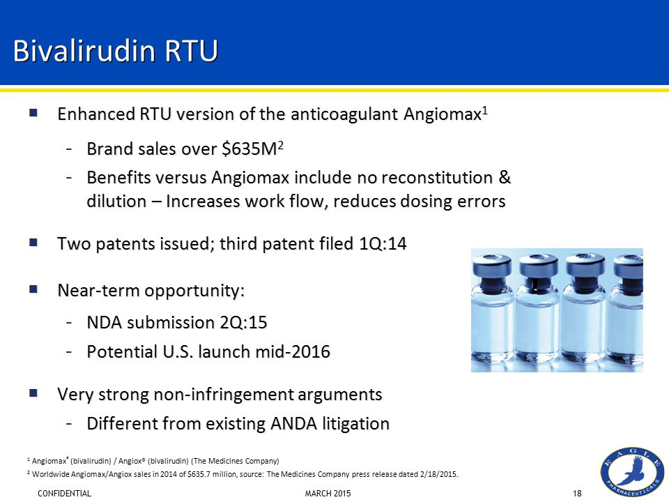 Bivalirudin RTU Enhanced RTU version of the anticoagulant Angiomax1
