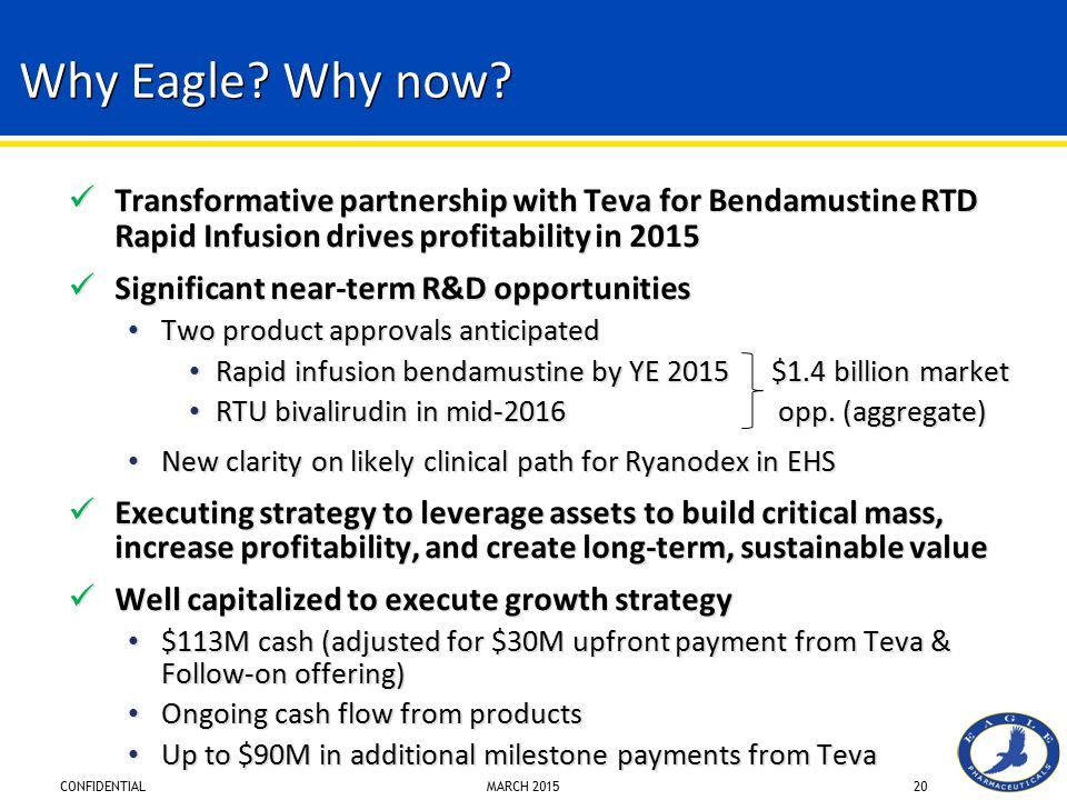 Why Eagle Why now Transformative partnership with Teva for Bendamustine RTD Rapid Infusion drives profitability in 2015.