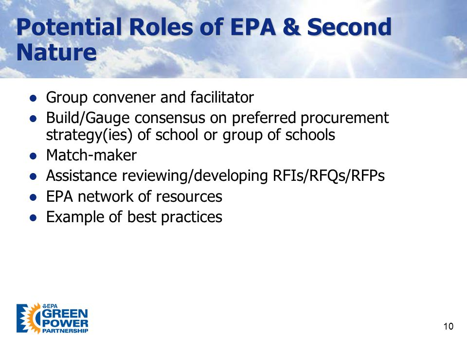 Potential Roles of EPA & Second Nature