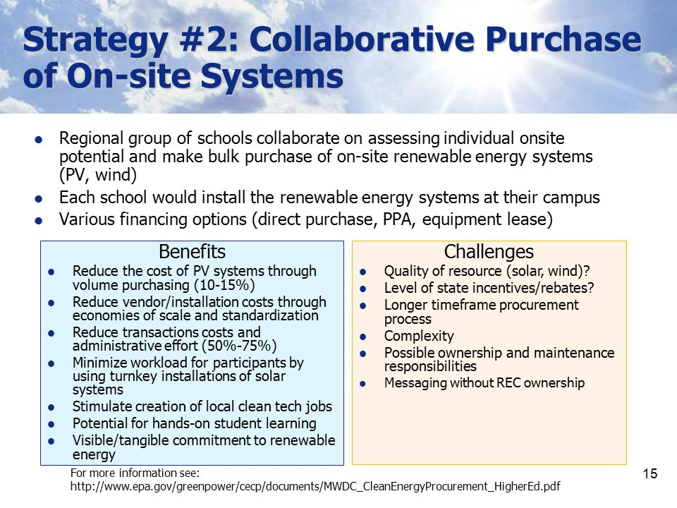 Strategy #2: Collaborative Purchase of On-site Systems
