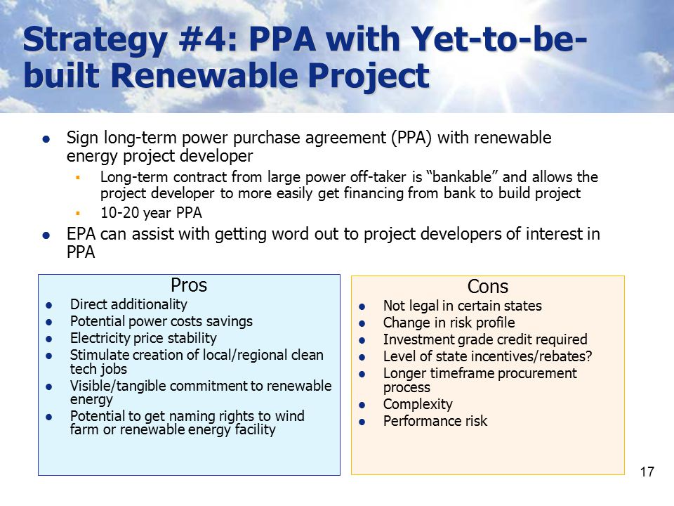 Strategy #4: PPA with Yet-to-be-built Renewable Project