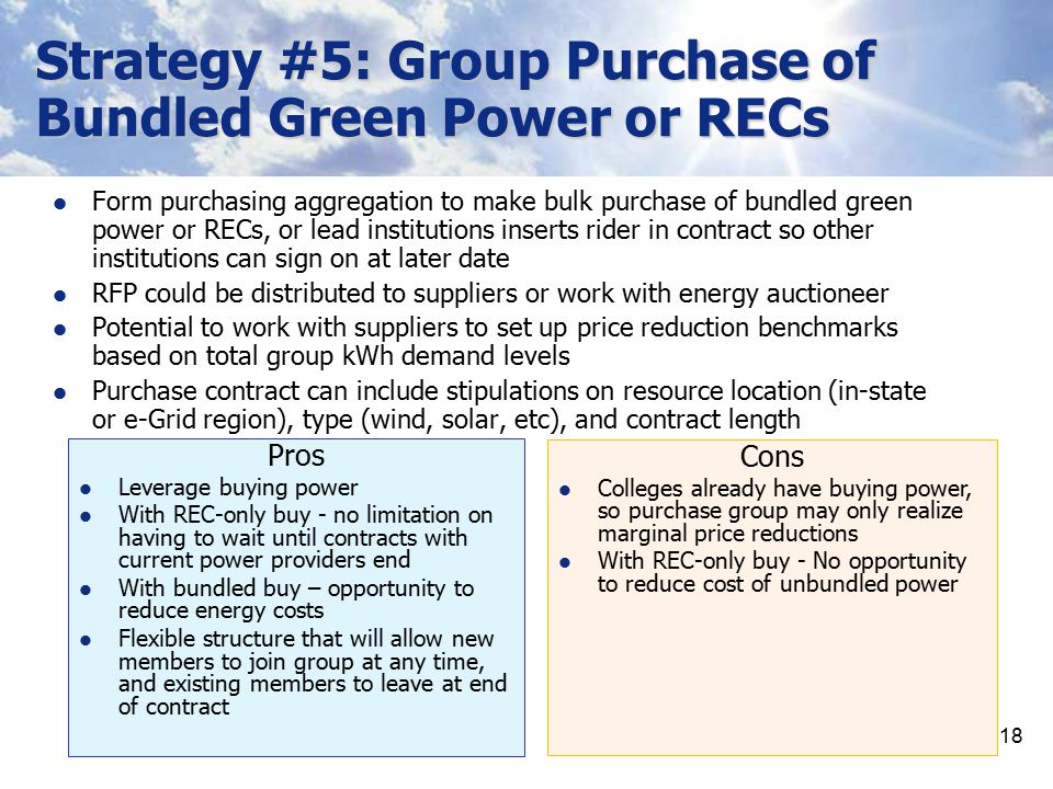 Strategy #5: Group Purchase of Bundled Green Power or RECs