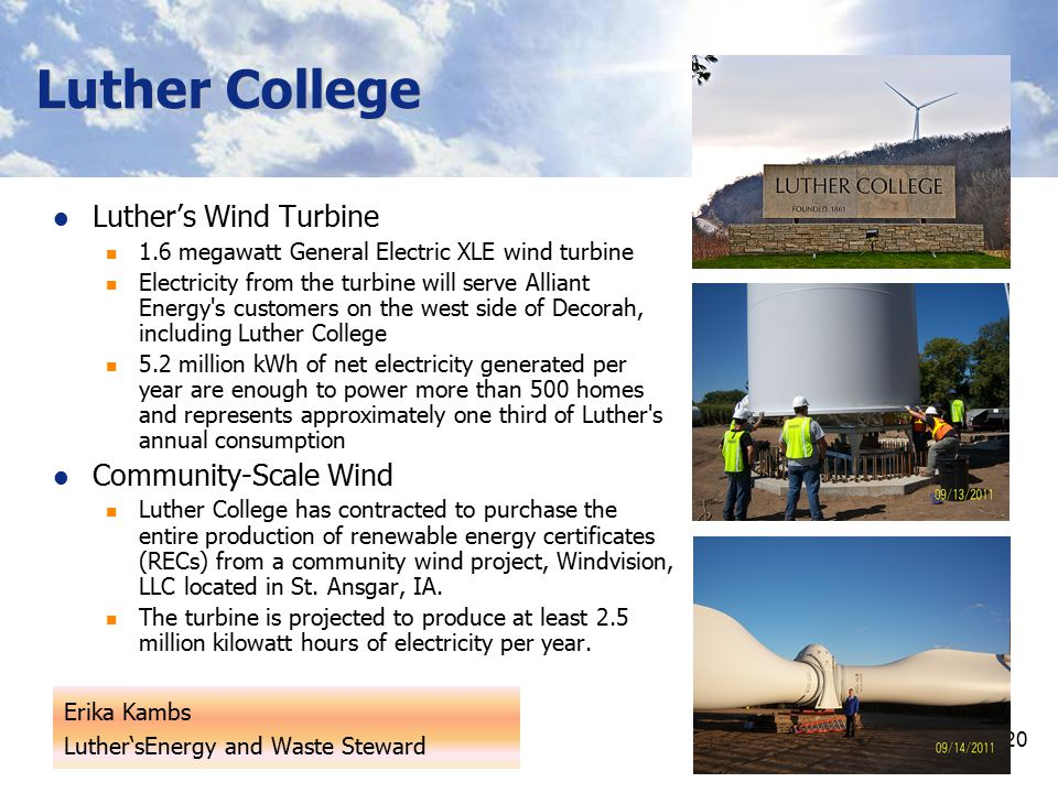 Luther College Luther's Wind Turbine Community-Scale Wind