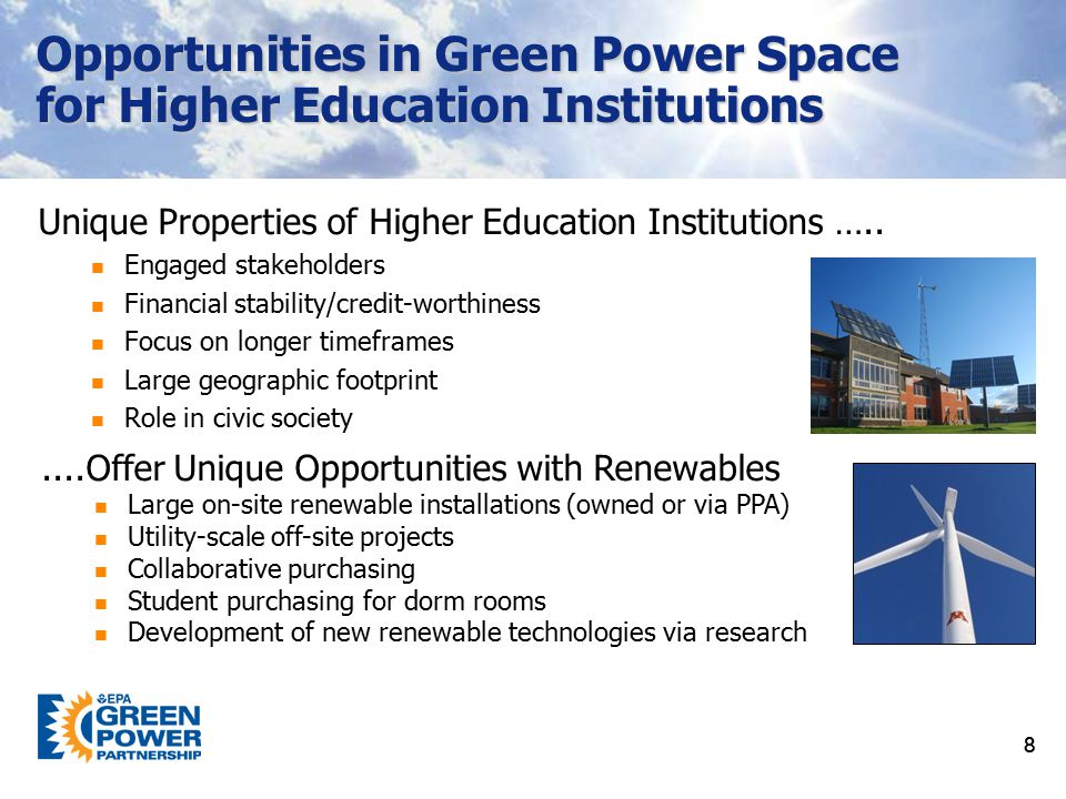 Opportunities in Green Power Space for Higher Education Institutions