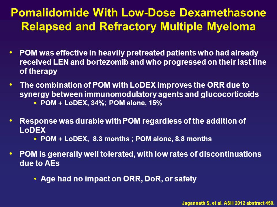 Pomalidomide With Low-Dose Dexamethasone Relapsed and Refractory Multiple Myeloma