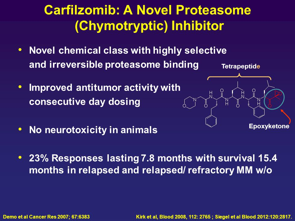 Carfilzomib: A Novel Proteasome (Chymotryptic) Inhibitor