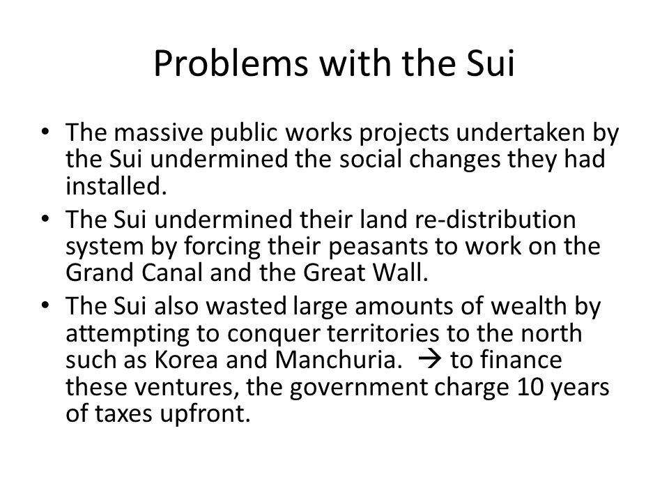 Problems with the Sui The massive public works projects undertaken by the Sui undermined the social changes they had installed.