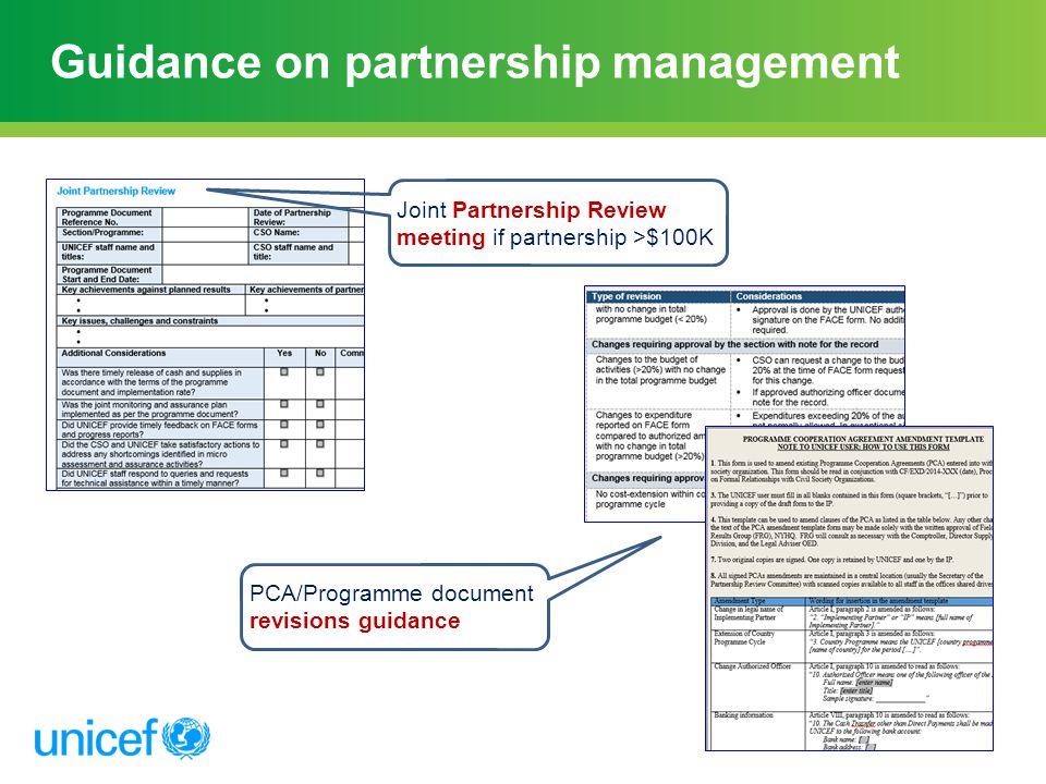 Guidance on partnership management