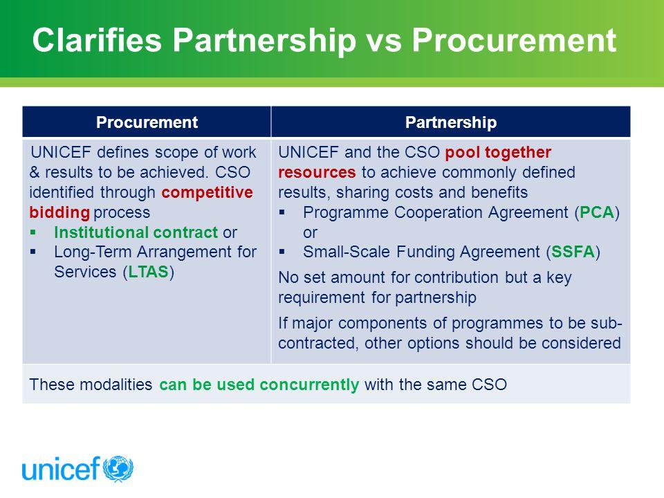 Clarifies Partnership vs Procurement