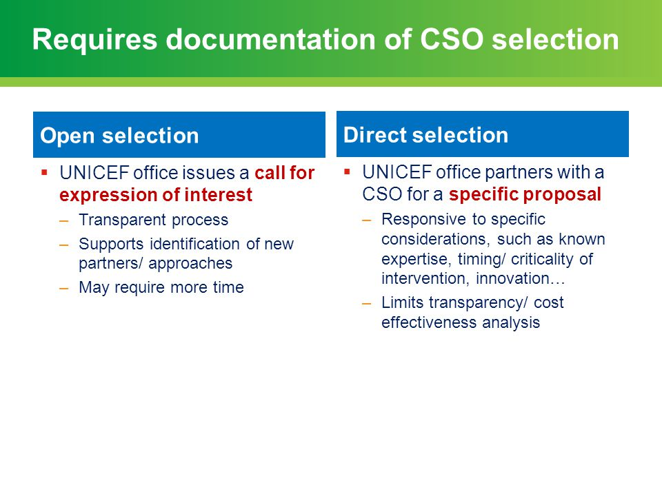 Requires documentation of CSO selection