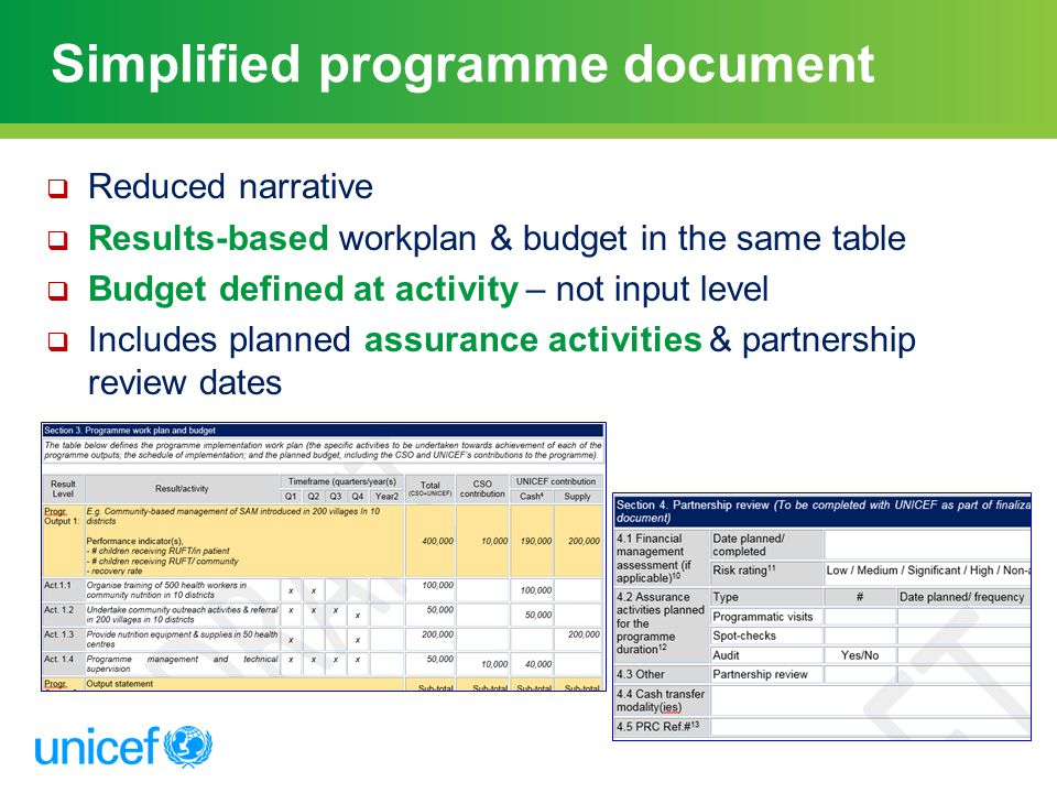 Simplified programme document
