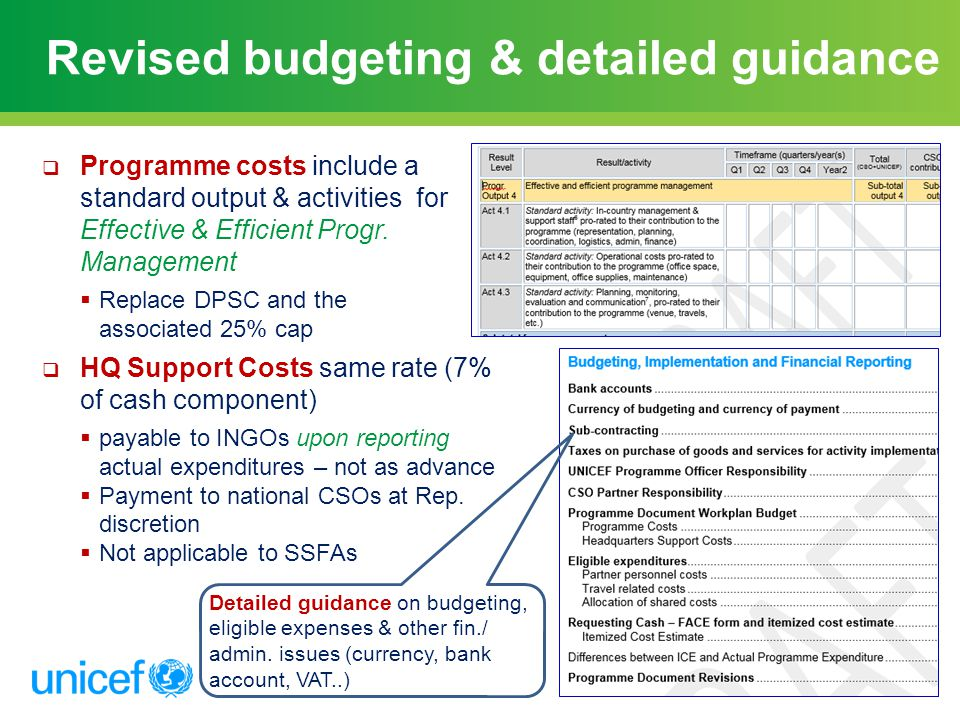 Revised budgeting & detailed guidance
