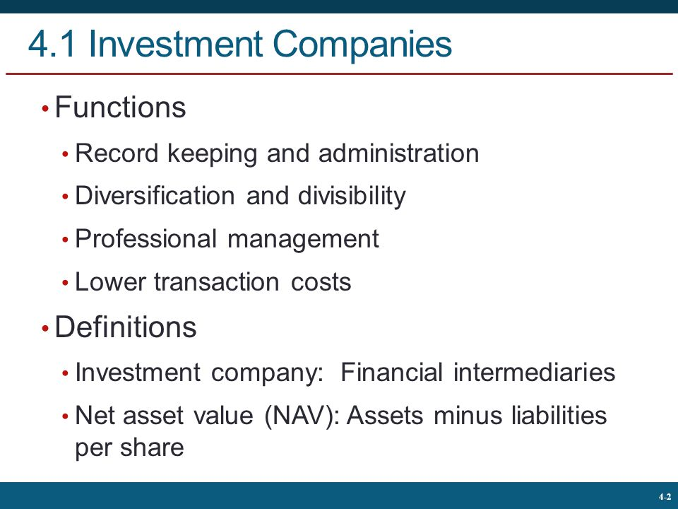 4.1 Investment Companies Functions Definitions