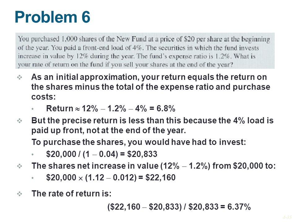 Problem 6 As an initial approximation, your return equals the return on the shares minus the total of the expense ratio and purchase costs: