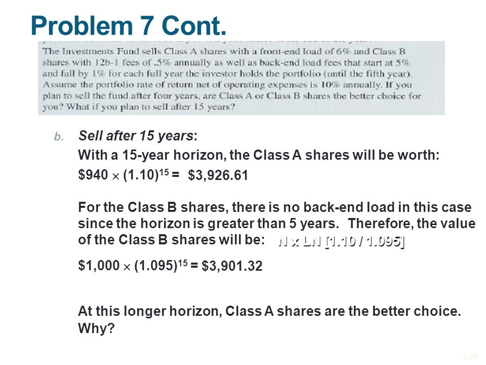 Problem 7 Cont. Sell after 15 years: With a 15-year horizon, the Class A shares will be worth: $940  (1.10)15 =