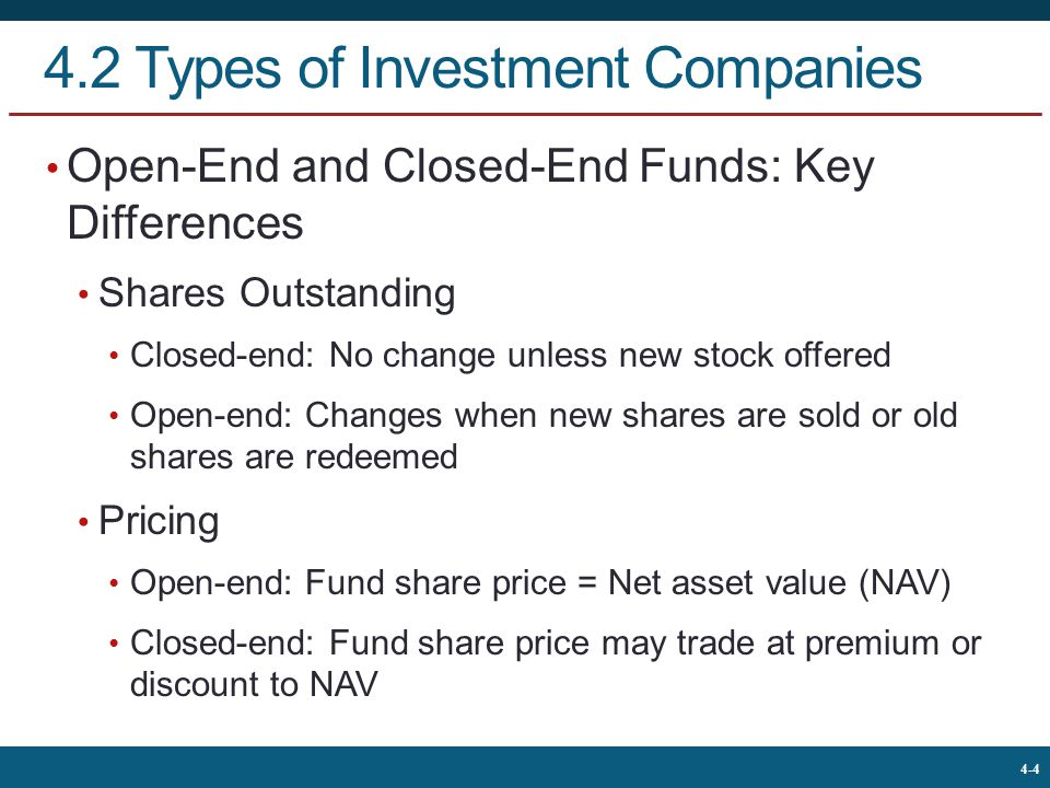 4.2 Types of Investment Companies