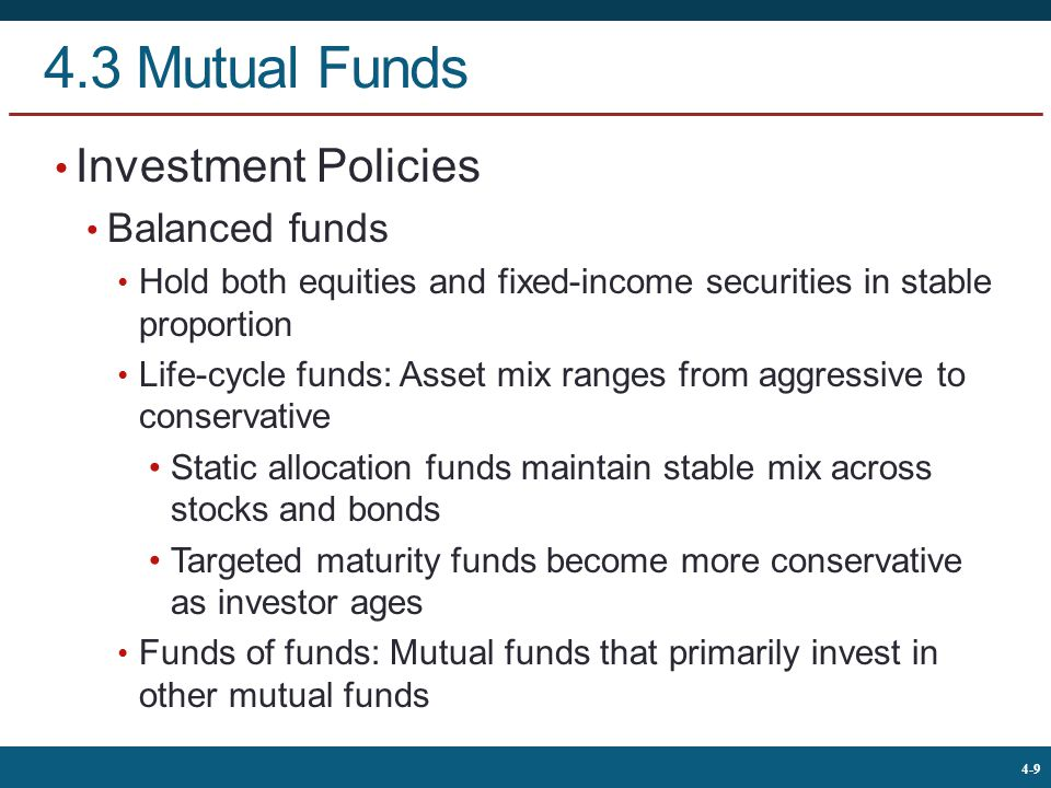 4.3 Mutual Funds Investment Policies Balanced funds