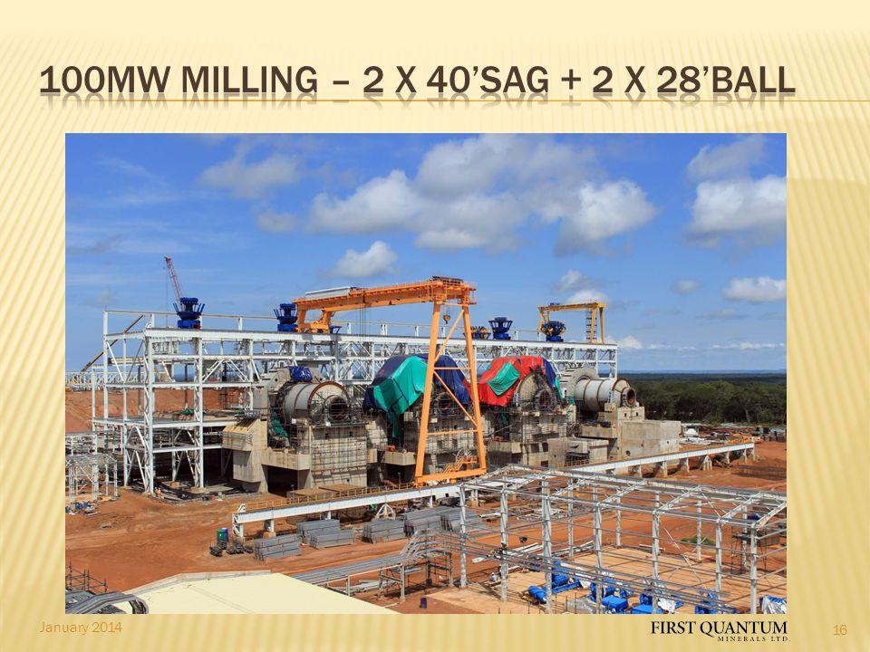 100MW Milling – 2 x 40'SAG + 2 x 28'BALL