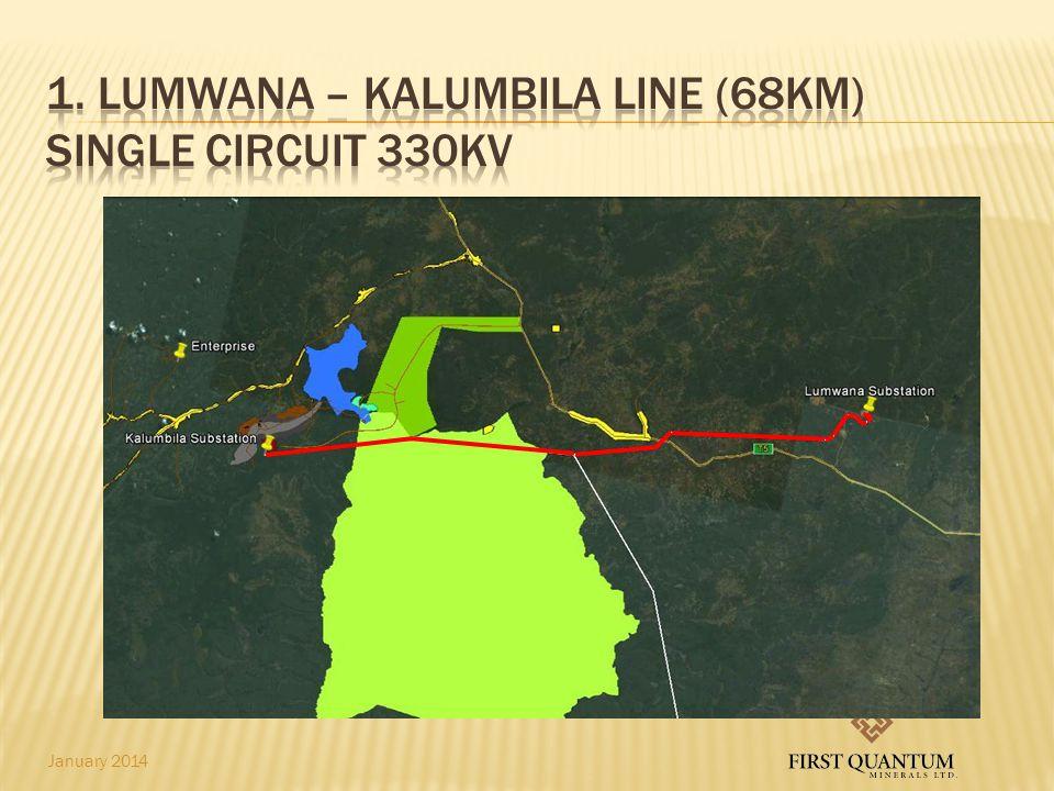 1. Lumwana – kalumbila line (68km) single circuit 330kv