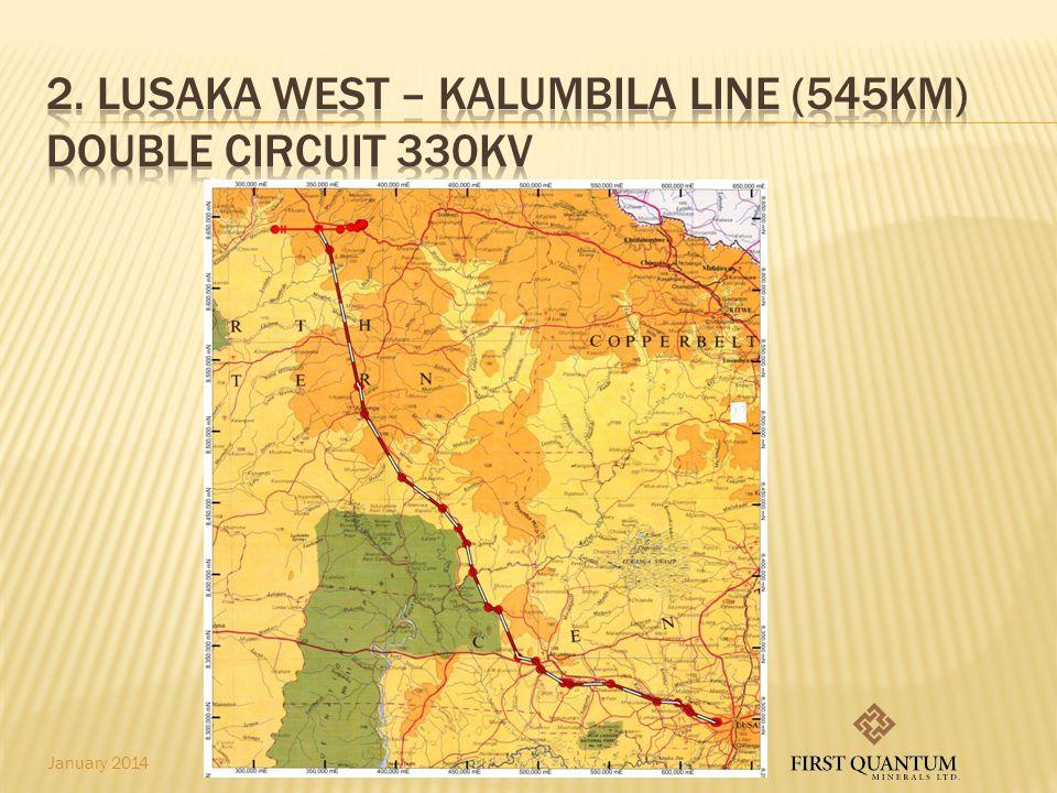 2. Lusaka West – kalumbila line (545km) DOUBLE CIRCUIT 330Kv