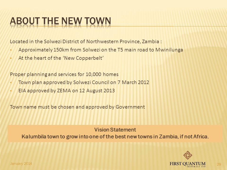 About the New Town Located in the Solwezi District of Northwestern Province, Zambia :