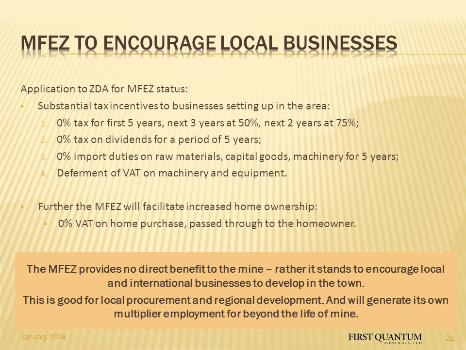 MFEZ to encourage local businesses