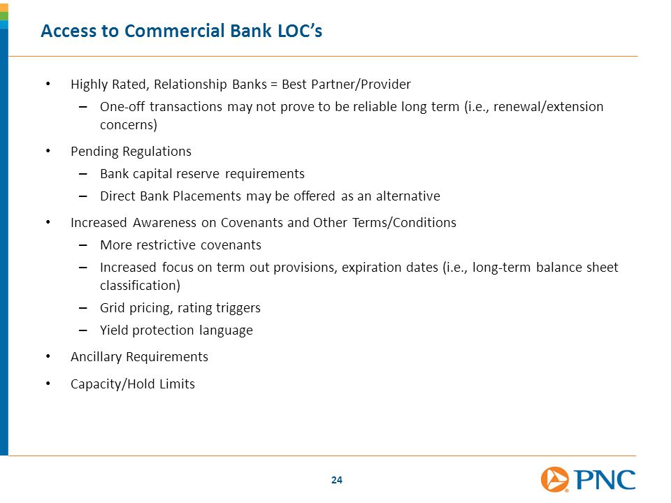 Access to Commercial Bank LOC's