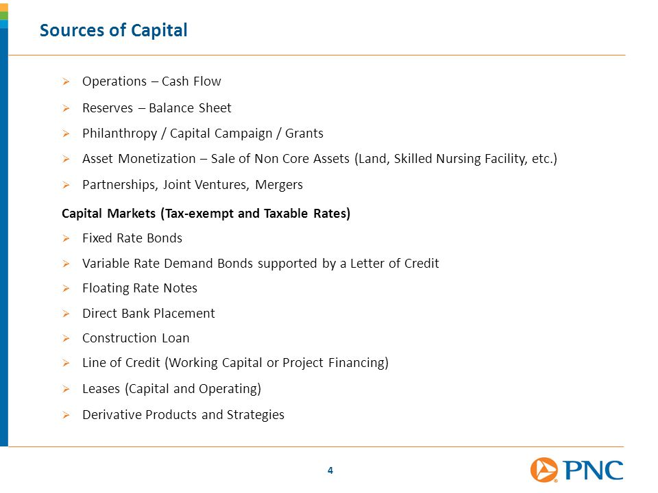 Sources of Capital Operations – Cash Flow Reserves – Balance Sheet