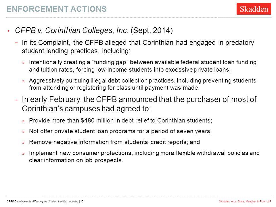 Enforcement actions CFPB v. Corinthian Colleges, Inc. (Sept. 2014)
