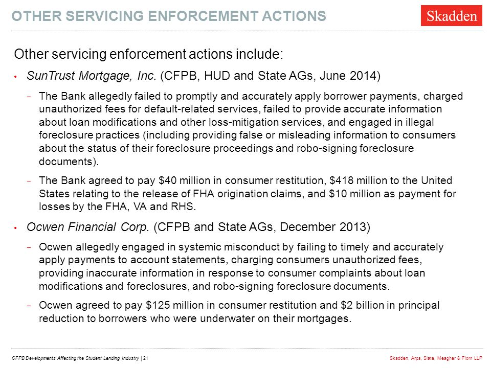 Other Servicing Enforcement actions