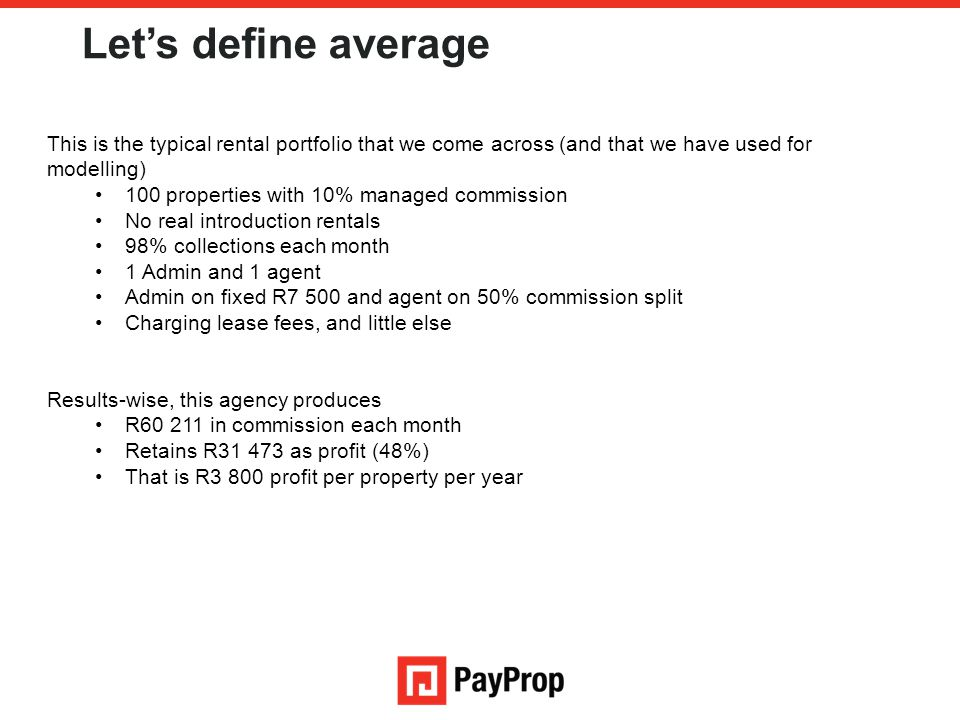 Let's define average This is the typical rental portfolio that we come across (and that we have used for modelling)