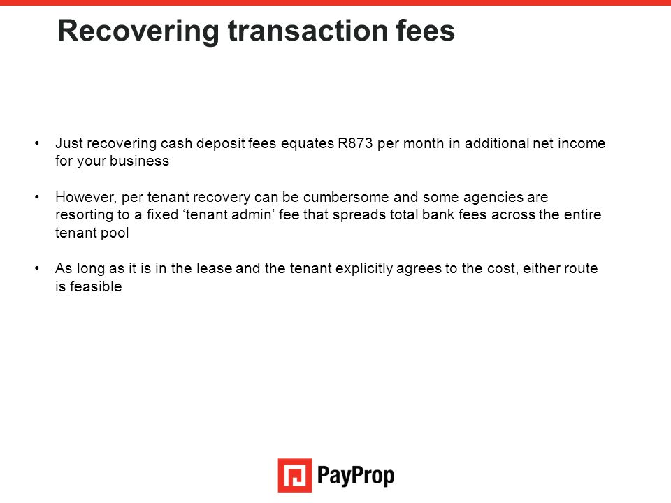 Recovering transaction fees
