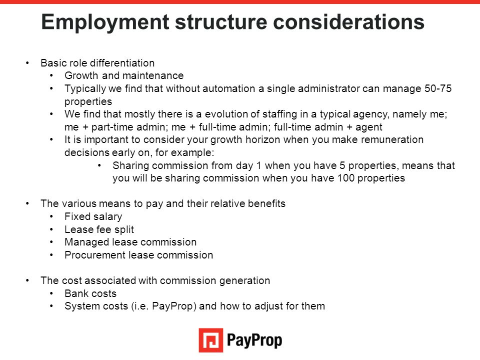 Employment structure considerations